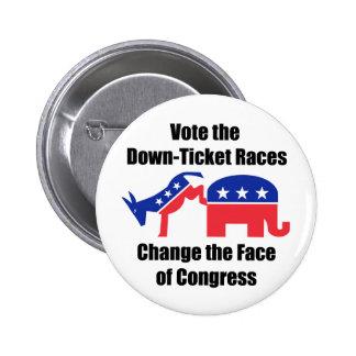 Vote Down Ticket 6 Cm Round Badge