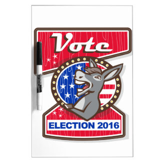 Vote Election 2016 Democrat Donkey Mascot Cartoon Dry Erase Board