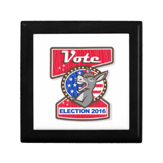 Vote Election 2016 Democrat Donkey Mascot Cartoon Small Square Gift Box