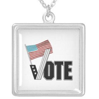 Vote Election Day Square Pendant Necklace