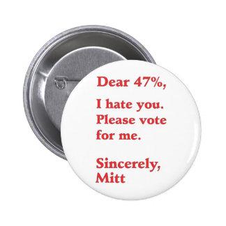 Vote for Barack Obama Mitt Romney Hates You 47 Pinback Buttons