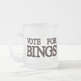 Vote For BINGS Frosted Glass Mug