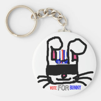 Vote For Bunny Basic Round Button Key Ring