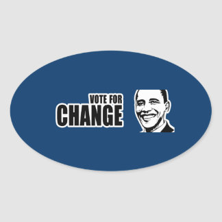 Vote for change Obama Bumper 5 copy.png Oval Stickers