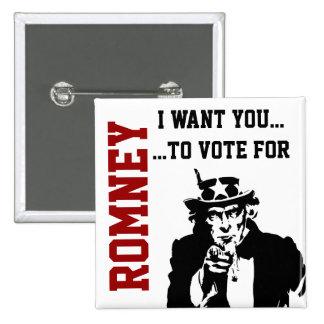 Vote for Mitt Romney Button