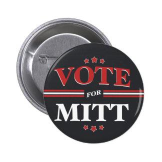 Vote For Mitt Romney Round Black Buttons
