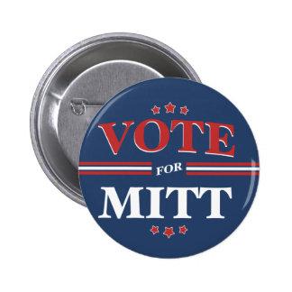 Vote For Mitt Romney Round Blue Pinback Buttons