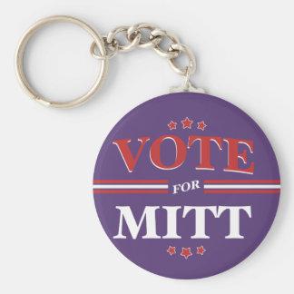 Vote For Mitt Romney Round Purple Keychains
