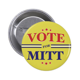 Vote For Mitt Romney Round Yellow Pinback Buttons