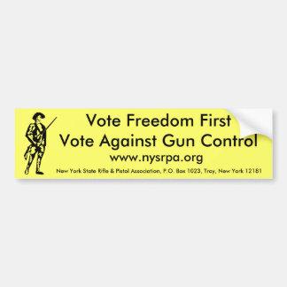 Vote Freedom First Vote Against Gun Control Bumper Sticker