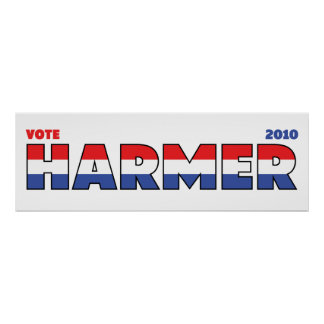 Vote Harmer 2010 Elections Red White and Blue Poster
