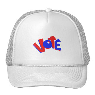 VOTE in red and blue text bouncy election swag Mesh Hat
