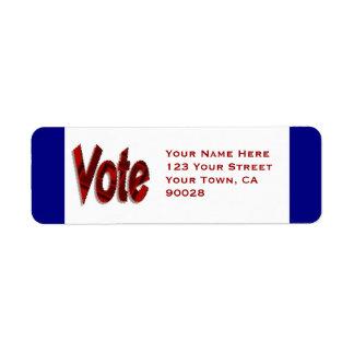 Vote Return Address Label