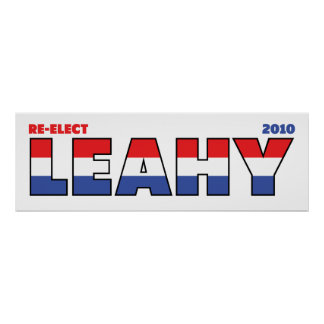 Vote Leahy 2010 Elections Red White and Blue Print