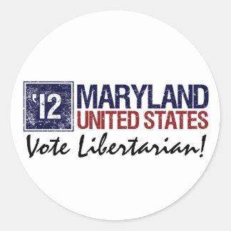 Vote Libertarian in 2012 – Vintage Maryland Round Sticker