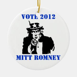 VOTE MITT ROMNEY 2012 Double-Sided CERAMIC ROUND CHRISTMAS ORNAMENT