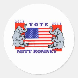 VOTE MITT ROMNEY 2012 ROUND STICKER