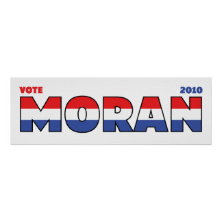 Vote Moran 2010 Elections Red White and Blue Print