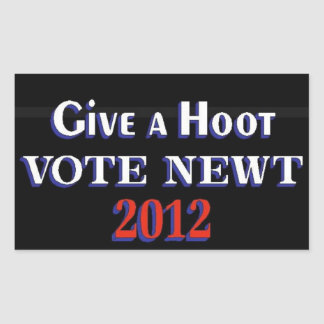 Vote Newt 2012 GAH Rectangular Sticker