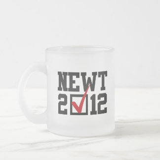 VOTE NEWT GINGRICH 2012 FROSTED GLASS MUG