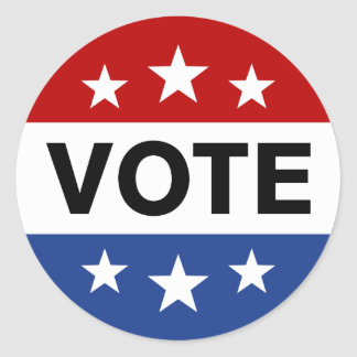 Vote on election day, red white and blue sticker