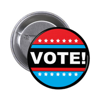 VOTE! Red & Blue Circle with Stars Button