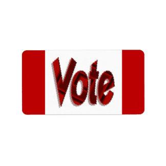Vote red address label