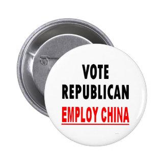 Vote Republican Employ China 6 Cm Round Badge