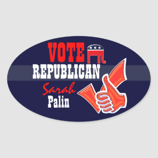 Vote Republican party PERSONALIZE Oval Stickers