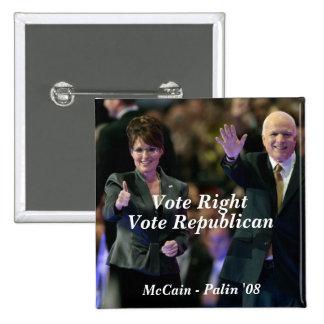 Vote Right, Vote Republican, McCain - ... 15 Cm Square Badge