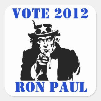 VOTE RON PAUL 2012 SQUARE STICKER