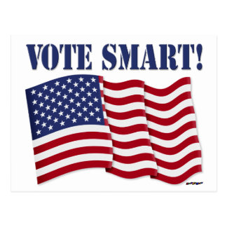 VOTE SMART with US Flag Postcards