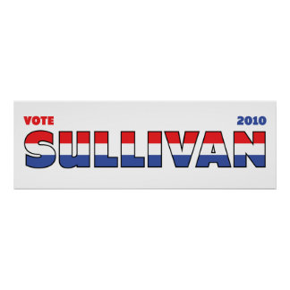 Vote Sullivan 2010 Elections Red White and Blue Posters