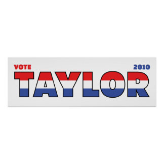 Vote Taylor 2010 Elections Red White and Blue Poster