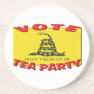 VOTE TEA PARTY (Don't Tread On Me Flag) Beverage Coaster
