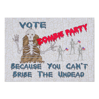 VOTE ZOMBIE PARTY 13 CM X 18 CM INVITATION CARD