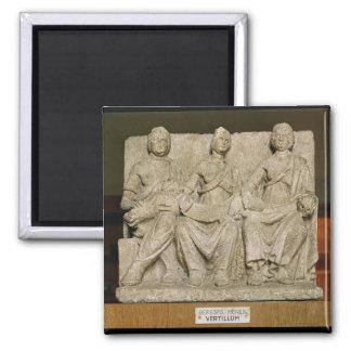 Votive sculpture of a triple mother deity fridge magnet