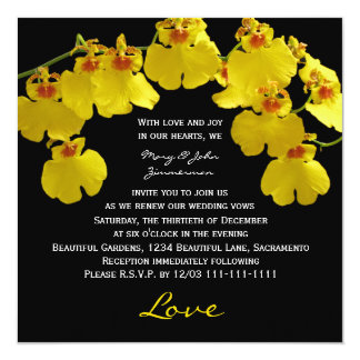 Vow Renewal Bright Yellow Orchids on Black Card