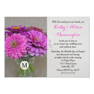 Vow Renewal Zinnias in Masson Jar on Burlap Card