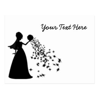 Voxeed Bride Silhouette Black Glitter Postcard