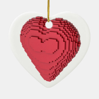 Voxel Heart Double-Sided Heart Ceramic Christmas Ornament