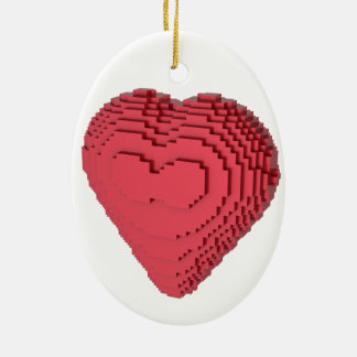 Voxel Heart Double-Sided Oval Ceramic Christmas Ornament