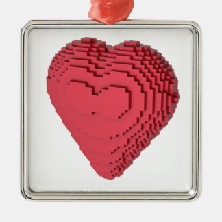 Voxel Heart Square Metal Christmas Ornament