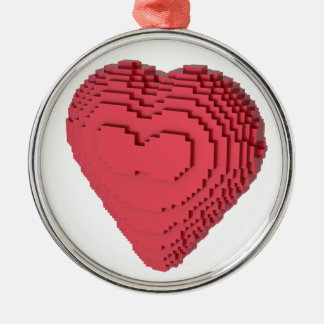 Voxel Heart Round Metal Christmas Ornament