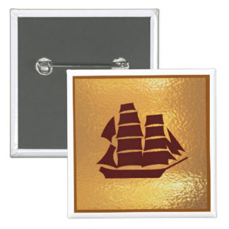 Voyage Boat Ship Holiday Trip - Medal Icon Gold Pinback Button