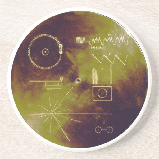 Voyager 1 and 2 Golden Record Sounds of Earth Drink Coaster