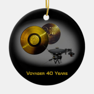 Voyager Spacecraft and Golden Record at 40 Ceramic Ornament