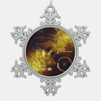 Voyager Spacecraft Golden Record Cover Snowflake Pewter Christmas Ornament