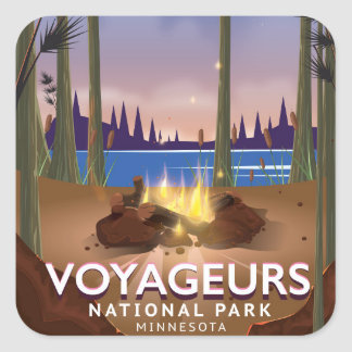 Voyageurs National Park Minnesota travel poster Square Sticker