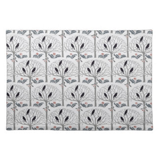 Voysey Rook and Holly Pattern Christmas Placemat